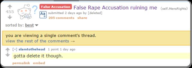 Reddit False Rape III