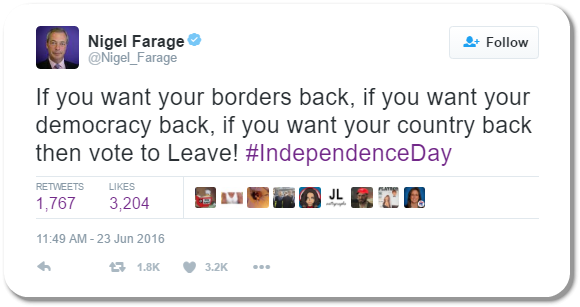 Nigel Farage Tweet