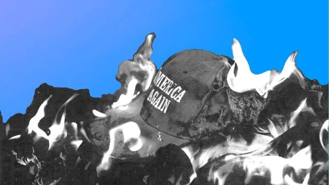 Burning MAGA Hat